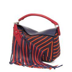 LOEWE Puzzle Fringes Bag Navy/Red