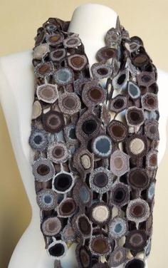 Fabric circles edged in crochet and joined together {Sophie Digard, The French Needle}