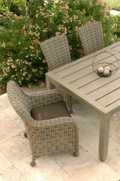 """""""Dreux"""" by Ebel.  Gorgeous fully-outdoor wicker, available in driftwood, chestnut, and natural finishes!"""