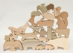 Japanese wooden animal building blocks