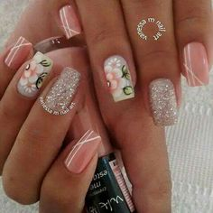 Fancy Nails, Pink Nails, Pretty Nails, Flower Nail Designs, Cool Nail Designs, Kawaii Nails, Beach Nails, Nail Patterns, Best Acrylic Nails