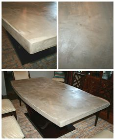 DIY Concrete Table Top: Chic and Durable. concreting over a wood top table Concrete Table Top, Stone Table Top, Diy Concrete, Polished Concrete, Concrete Projects, Concrete Design, Diy Table Top, Diy Dining Table, A Table