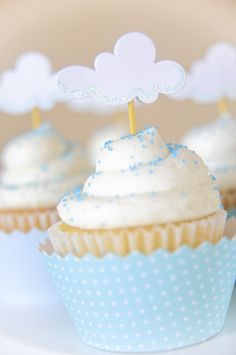 cloud cupcake topper - could do diy easily, silver lining, toothpick and a punch.