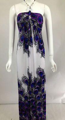 New Womens Summer Sundress Long Maxi Dress Beach Cover Up Purple M L Xl | eBay