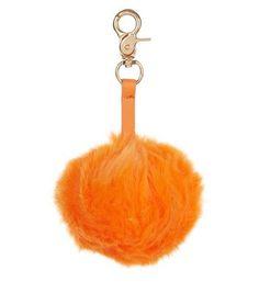 Orange Faux Fur Pom Pom Keyring