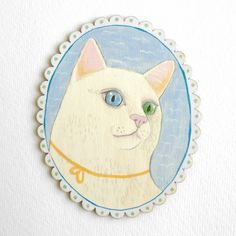 Aria the cat with different coloured eyes, original animal art painting on wood £28.00