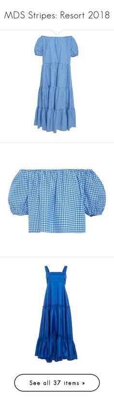 """""""MDS Stripes: Resort 2018"""" by livnd ❤ liked on Polyvore featuring MDSStripes, livndfashion, resort2018, livndmdsstripes, dresses, blue tiered dress, balloon sleeve dresses, blue dress, blue peasant dress and tiered dresses"""