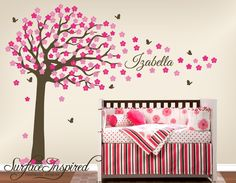 Large cherry blossom tree wall decal with scripted custom name. Adorable baby nursery wall decals and stickers from Surface Inspired are the hottest trend in baby nursery wall decor. Our wall decals are custom made to perfection. You can have your decal made in any colors you want and change the size so it fits your nursery perfectly!