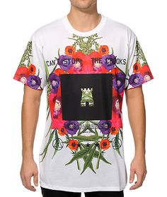 A sublimated floral and weed print front graphic with a Crooks and Castles logo inside a black chest block provides unique style with soft polyester comfort.