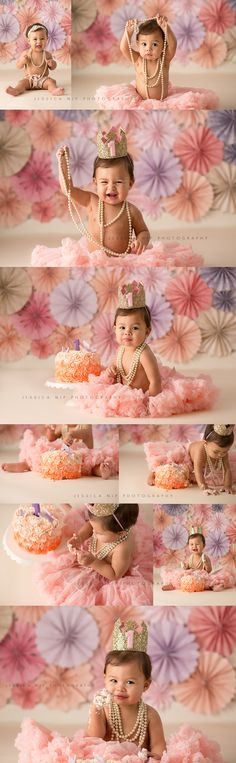 Girly Cake Smash Featuring Pinwheels, Pearls and a fabulous little princess! ©… Girly Cake Smash Featuring Pinwheels, Pearls and a … Smash Cake Girl, 1st Birthday Cake Smash, Baby Girl First Birthday, Smash Cakes, Princess First Birthday, Cake Smash Photography, Birthday Photography, Photography Props, Children Photography