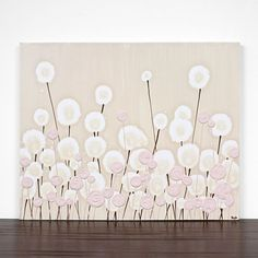 Modern Nursery Art - Textured Painting - Flower Canvas Art 20X16 Small - Pink and Brown Decor - MADE TO ORDER