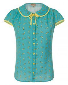 'Tracey Mae' Blue Bananas Print Shirt