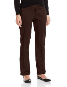 """Lee Women's Petite Modern Series Curvy Fit Rennie Straight Leg Pant, Roasted Chestnut, 6 Petite. Straight-leg dress pant with contoured no-gap waistband featuring buttoned welt pockets at back. Leg opening: 15"""", Inseam: 28"""". Product measurements were taken using size 10. Please note that measurements may vary by size. Black, boulder gray, porcini, roasted chestnut: 97% Cotton/3% Spandex Stretch Sateen."""