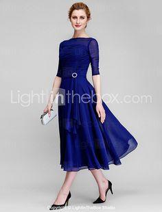 Lanting Bride® A-Linie Brautmutterkleid Tee-Länge Halbe Ärmel Chiffon - Horizontal gerüscht 2017 - €78.39