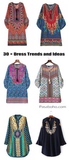 30 + Dress Trends & Ideas from Pasaboho. We Love boho style and embroidery stitches. Free Spirit hippie girls sharing woman outfit ideas. bohemian clothes, cute dresses and skirts.  Fashion trend and styles from hippie chic, modern vintage, gypsy style, boho chic, hmong ethnic, street style, geometric and floral outfits.