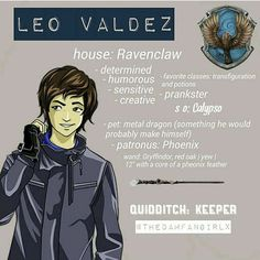 I thought gryffindor but this would be my second choice for him <<Leo fixed festus and made the Argo 2 Percy Jackson Crossover, Percy Jackson Fan Art, Percy Jackson Memes, Percy Jackson Books, Percy Jackson Fandom, Magnus Chase, Solangelo, Percabeth, Viria
