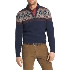 Izod Blue Long Sleeve Fair Isle 14 Zip Sweater ($28) ❤ liked on Polyvore featuring men's fashion, men's clothing, men's sweaters, blue, mens fair isle sweater, mens full zip sweater, mens 1/4 zip sweater, mens blue sweater and mens cotton sweaters