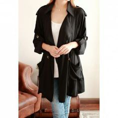 $16.05 Casual Style Turn-Down Collar Solid Color Tie-Up Button Long Sleeve Coat For Women