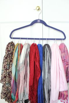 use shower-curtain rings to hold scarves