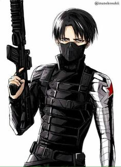 Attack on Titan/Captain America: Winter Soldier Crossover - Captain Levi dressed as Bucky