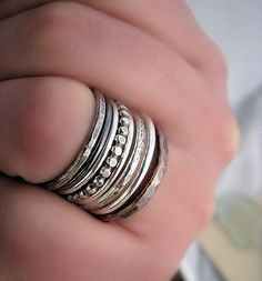 Silver and copper stacker rings by Adobe Sol Designs