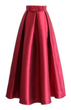 Bowknot Pleated Full Maxi Skirt in Red - Maxi Skirt - Trend and Style - Retro, Indie and Unique Fashion Red A Line Skirt, Long A Line Skirt, A Line Skirts, Long Skirts, Bow Skirt, Satin Skirt, Long Pleated Maxi Skirt, Printed Maxi Skirts, Unique Fashion