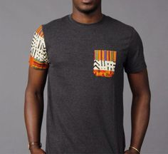 Made to order Kente cotton ankara on cotton t-shirt. We make styles and sizes to order. Right now only a grey in mens and grey in womens V-neck are: