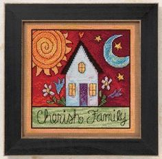 """Cherish Family - Cross Stitch Kit:   It is an elegant old-fashioned design that oozes simplicity. It shows a house that symbolizes the importance of family.Kit contains: Mill Hill glass beads, 14 count perforated paper, needles, floss, chart and instructions. Parts from USA, UK, France, and Japan. Stitched Size: 100W x 100H Finished Size: 7.25'' x 7.25'' (18.4 x 18.4 cm) Frame (8"""" x 8"""") NOT included. Suggested Mill Hill frame is #GBFRM21 (look for in our store) Not recommended for chil..."""