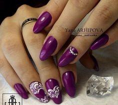 ! Nail Polish Art, Nail Polish Designs, Nail Art Designs, Sexy Nails, Love Nails, Pretty Nails, Manicure, Purple Nail Art, Valentine Nail Art