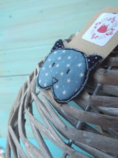 fabric brooch stitched detailing cute fabric cat by JellyRoos, £5.00