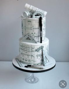 The perfect cake for your architect mate! Beautiful Birthday Cakes, Beautiful Cakes, Amazing Cakes, Crazy Cakes, Fancy Cakes, Unique Cakes, Creative Cakes, Pretty Cakes, Cute Cakes