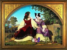 """Based on Eduard Bendeman, """"Two Girls at the Well"""", here is another collage featuring Bella Lenahan, the border collie. Dog Art, Gallery, Behance, Illustration, Artist, Dogs, Purple Dress, Painting, Conversation"""