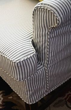 Slipcovers Navy Blue Ticking Stripe fabric was used for these
