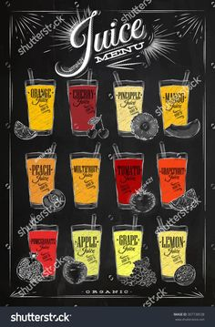 Poster juice menu with glasses of different juices drawing with chalk on the bla. - decoracion for beginners juice Juice Bar Menu, Juice Cafe, Smoothie Bar, Juice Bar Design, Food Menu Design, Fruit Shop, Menu Boards, Coffee Menu, Salad Bar