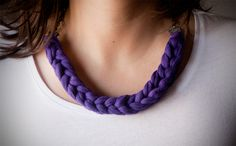 Fabric Yarn Necklace  Purple Fabric Silver chain 20,5 inches (52 cm)