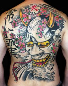 Great collcetion of Japanese Mask Tattoo designs ideas of 2019 for men and women to japan tattoo lover people. Japanese Demon Tattoo, Tattoo Japanese Style, Japanese Tattoos For Men, Japanese Flower Tattoo, Japanese Tattoo Symbols, Japanese Dragon Tattoos, Traditional Japanese Tattoos, Japanese Sleeve Tattoos, Hannya Maske Tattoo