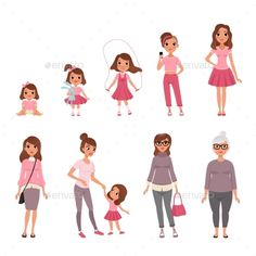 Buy Life Cycles of Woman by Top_Vectors on GraphicRiver. Life cycles of woman, stages of growing up from baby to woman vector Illustration isolated on a white background. Bebe Vector, Human Life Cycle, Cycle Drawing, Autism Learning, Manga Poses, Baby Box, Human Development, Woman Drawing, Mom Birthday