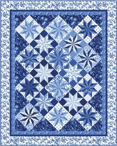 Porcelain Prism Stars Quilt Pattern PC-177 (intermediate, wall hanging, lap and throw, twin, queen)