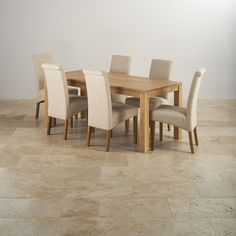 84a8719afe Galway Natural Solid Oak Dining Set - 6ft Table with 6 Plain Beige Fabric  Scroll-back Chairs