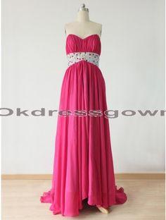 fashion hot pink sweetheart hi-lo chiffon prom dress with beads