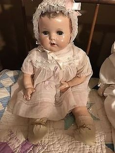 """Antique IDEAL Composition Baby Doll, BEAUTIFUL! 18"""" Flirty Eyes"""