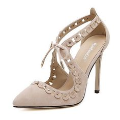 Thboxs Hollow High Stilettos Pumps Pointed Toe Sandals Shoes Apricot US Size 8.5