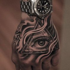 17 Ideas for eye tattoo triangle hands Full Arm Tattoos, Hand Tattoos For Guys, Forearm Tattoos, Body Art Tattoos, Small Tattoos, Cool Tattoos, Mens Hand Tattoos, Wrist Tattoos For Guys, Tattoo Ink