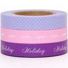 pink & purple Washi Masking Tape tape set 3pcs holiday