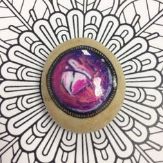 Gemstone Jewel Purple #1 - Gem painted on a stone - Cabochon Zentangle gemstone - Amethyst gemstone - Rhodonite - Painted rock -