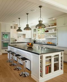 White Kitchen Cabinets, White Paneled Wood Ceiling And Trim, Light Wood  Floors. East Mountain Home, Santa Barbara. NMA Architects And D.