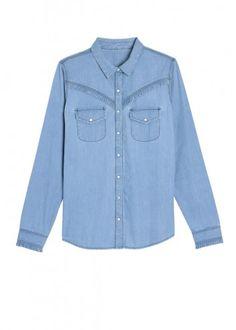 8c6509edfa39 Chemise en jean froufrou Chemise col pointe à manches longues. Détail  froufrou au niveau de