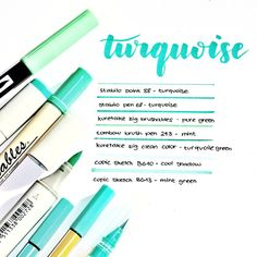 [Comment your favourite stationery ‍♀️ - Turquoise swatch ❤ Stabilo Pen 68, Stabilo Point, Cute Notes, Pretty Notes, Glam Planner, Cute Stationery, Stationary, School Suplies, Bullet Journal Notes