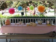 Dora Birthday Fiesta | Creative Party Place... Nacho bar and paper flowers