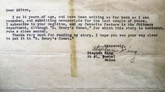 A letter from Stephen King, age 14, as he submitted a story to a magazine.